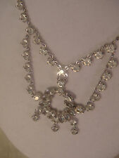 PRONG SET CRYSTAL STATEMENT NECKLACE VINTAGE WEDDING 12K WHITE GOLD FILLED