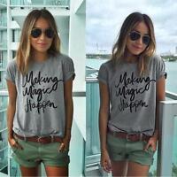Fashion Summer Women Ladies Short Sleeve T Shirt Loose Casual Cotton Blouse Tops