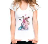Women T-Shirt Super Mom 2019 Summer Fashion White Mother's Day Female White Tops