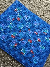 """Handmade: Doll Quilt - 20"""" x 25"""" Little Mermaid Images in Blue"""