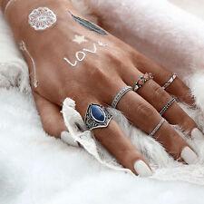 6pcs Midi Ring Boho Beach Vintage Tibetan Silver Rings Set Women Jewelry Gift