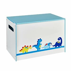 Dinosaurs Kids Toy Box - Childrens Bedroom Storage Chest with Bench Lid by
