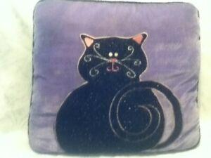 "VINTAGE 16"" Sq Purple Pink Pillow Velvet Black Glitter Cat Halloween Plush Throw"