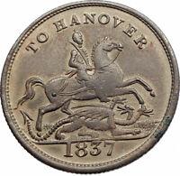 1837 UK United Kingdom QUEEN VICTORIA Hanover Cumberland Jack Token Medal i80107