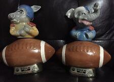 """Vintage 1972 Jim Beam Political Donkey & Elephant Decanter Set """"football"""" Empty"""
