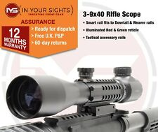 3-9x40 Rifle scope with tactical rails / Gun scope fits Dovetail & Weaver rails
