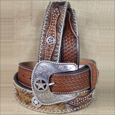 40 INCH WESTERN NOCONA HAIR STAR CONCHO BROWN LEATHER MENS BELT