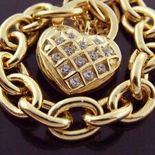 BRACELET 14 K YELLOW VERMEIL GOLD DIAMOND SIMULATED SOLID LINK HEART PADLOCK
