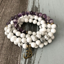 Natural Amethyst & Howlite Beaded Mala Wrap Bracelet, Beads OM Necklace