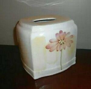 NWT CROSCILL Gazebo Botanical Ceramic Tissue Cover Yellow
