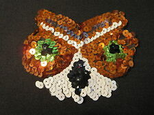 """New listing Sequined Sequin Owl Applique 4 1/2"""" x 3 3/4"""" Copper White Green Black Sew On"""