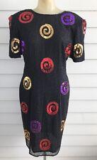 Vintage Leslie Fay Dress Size 8 Black Sequins Beaded 100% Silk Padded Shoulders