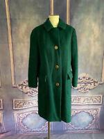 VNTG Lodenfrey WARM Hunter Green Winter Coat SMALL Brushed Wool Flannel AUSTRIA