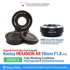 ⭐SERVICED⭐ KONICA Hexanon 50mm F1.8 AR+ Sony E-mount NEX Adapter + Cap [GRADE B]