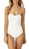 Anne Cole Womens White, Size 10, Twist Front Shirred Bandeau Swimsuit $107