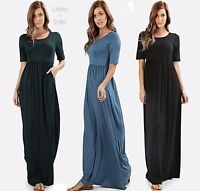 Viscose Scoop Neck Maxi Dress With Side Pockets And Elasticized Waist Line