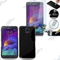Etui Coque TPU Silicone Gel Samsung Galaxy Note 4 N910F + 2 Films Verre Trempe