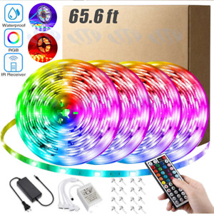 66FT Flexible 3528 RGB LED Strip Light Remote Fairy Light Room Party Waterproof