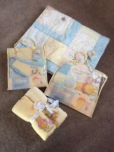 Winnie The Pooh Disney nursery bedding bundle 2 sheets Curtains Uplighter Quilt
