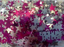 Silver/ Pink Happy Birthday Stars Table Scatters Confetti Decorations Party Gift