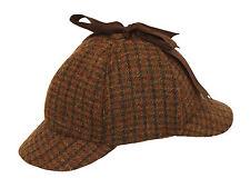 100% Lana País Tweed Sherlock Holmes DeerStalker caza gota Orejas Sombrero