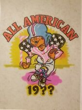 Vintage Iron On T-Shirt Transfer: ALL AMERICAN FOOTBALL 19?? Childs Boys Day-Glo