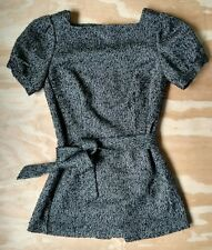 Jennifer Lopez Women's Tweed Belted Tunic Dress Black Gray Metallic Sz Medium M