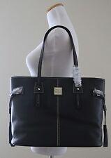 DOONEY & BOURKE Pebble Grain Leather Davis Tote FA655 BB, Black / Black