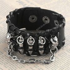 Double Skull Bullet Chain Men Bracelet Punk Black Leather Wristband Cuff Gothic