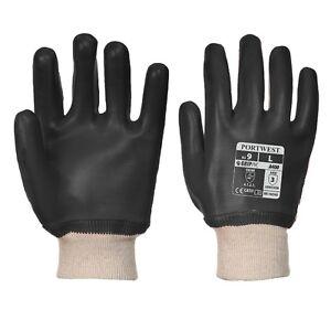 Portwest A400 BLACK PVC Knitwrist Glove Knitted Wrist Gloves Oil Waterproof