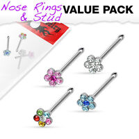 4 Pc Pack Of Multi Gem Flower CZ Nose Studs Ring Surgical Steel 20G 6mm