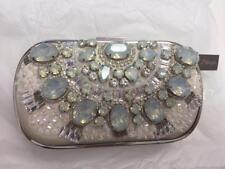 "NEW Natasha Stone Evening Bag/Clutch, Silver Jeweled, 5"" x 7.5"" x 2"""
