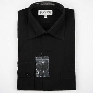 Solid Black 15 1/2 34/35 Spread Point Fly Front Men's Dress Shirt by Lucasini