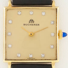 Bucherer 18k Gold Men's Hand-Winding Watch w/ Diamond Dial and Leather Band