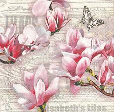2 Serviettes en papier Magnolia Fleurs Decoupage Paper Napkins Elisabeth's Lilas