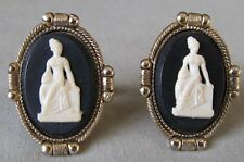 Men Vintage COLONIAL CAMEO WOMAN CUFFLINKS Costume Jewelry Accessory G-1