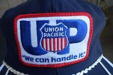 Vintage UP  UNION PACIFIC  Blue Trucker Hat   Patch