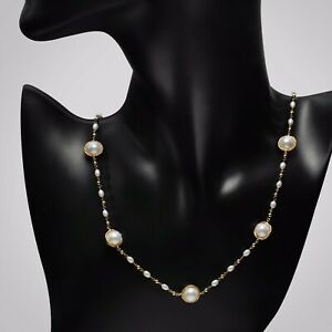 """Handmade!9mm+ FW Pearl Necklace 14K Yellow Gold Filled Chain 19.5"""""""