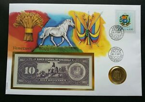 Venezuela Emblem 1997 Horse FDC (banknote coin cover) 3 in 1 *rare
