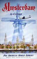 """Vintage Illustrated Travel Poster CANVAS PRINT Amsterdam by Clipper 24""""X16"""""""