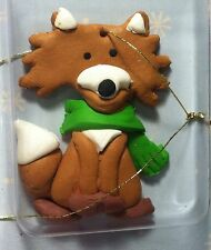 8 Miniature Fox Table Top Tree / christmas or Craft Ornaments