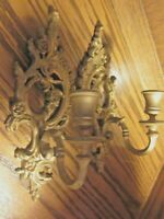 "Set (2) Vtg Ornate Gold-Tone 9.8"" Resin Candle Holders Wall Mount Sconces    129"