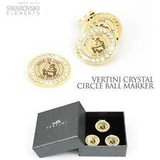 Vertini 24K Gold PT. Swarovski Crystal Golf 2Ball Markers+1Bottom Clip Set