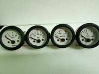 "2"" / 52mm Electrical Oil Pressure Temp Volt Fuel Gauge -White Face Black Bezel"