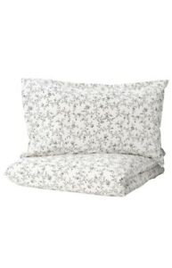 Ikea KOPPARRAN TWIN Floral Duvet Cover W/ PILLOWCASE Gray/white FREE SHIP