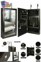 Mirrored Brown Jewelry Cabinet Armoire Storage Organizer Wall Door Mounted Gift