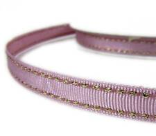 "2 Yds Metallic Gold Side Saddle Stitched Pink Purple Grosgrain Ribbon 3/8""W"