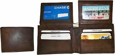 Lot of 2. Man's Wallet. Bi fold Leather Wallet 12 Credit Cards 2 IDs Suede lined