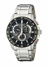 Citizen Eco-Drive AT4008-51E Mens Chronograph Grey Dial Stainless Steel Watch