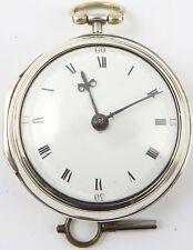 Antique VERGE Paire Case Argent Montre De Poche e Hemmen London HM1791 working order
